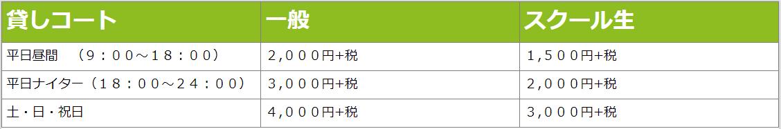 松原貸コート料金表
