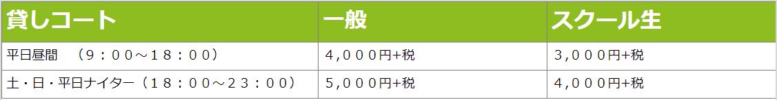 住之江貸コート料金表