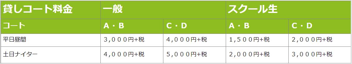 高槻貸コート料金表